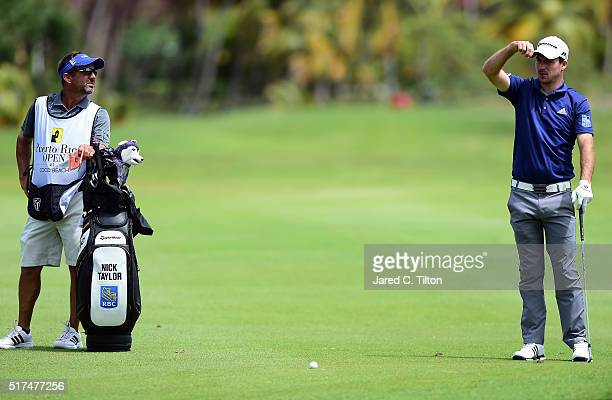 Nick Taylor of Canada checks the wind before his shot on the fourth hole during the second round of the Puerto Rico Open at Coco Beach on March 25...