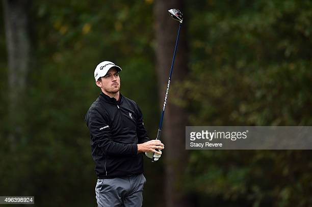 Nick Taylor of Canada hits his tee shot on the fourteenth hole during a continuation of round three of the Sanderson Farms Championship on November 9...