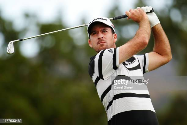 Nick Taylor of Canada hits on the second tee during the final round of the Safeway Open at the Silverado Resort on September 29 2019 in Napa...