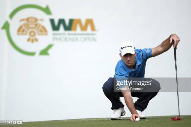 Nick Taylor of Canada lines up a birdie putt on the 16th green during the first round of the Waste Management Phoenix Open at TPC Scottsdale on...