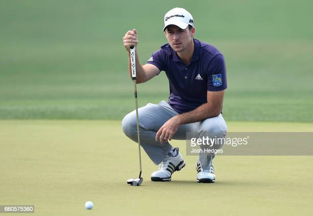 Nick Taylor of Canada lines up a putt on the 18th green during the first round of the Shell Houston Open at the Golf Club of Houston on March 30 2017...