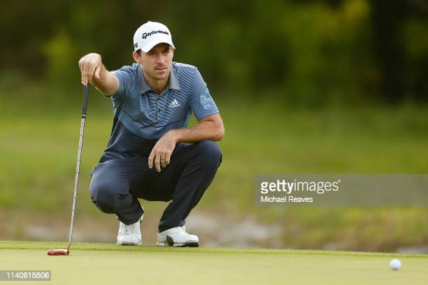 Nick Taylor of Canada looks over a putt on the fourth hole during the second round of the 2019 Valero Texas Open at TPC San Antonio Oaks Course on...