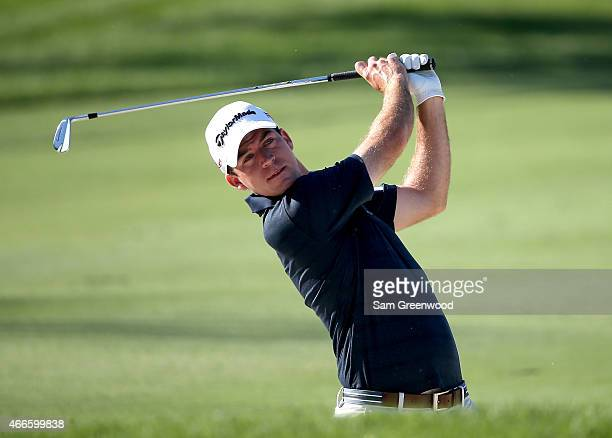 Nick Taylor of Canada plays a shot during a practice round for the Arnold Palmer Invitational Presented By MasterCard at the Bay Hill Club and Lodge...