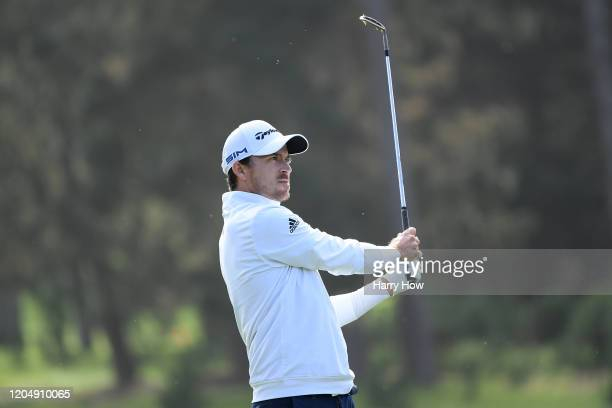 Nick Taylor of Canada plays a shot during the third round of the ATT Pebble Beach ProAm at Spyglass Hill Golf Course on February 08 2020 in Pebble...