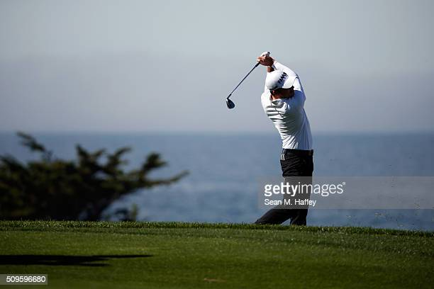 Nick Taylor of Canada plays a shot from the fourth fairway during the first round of the ATT Pebble Beach National ProAm at the Spyglass Hill Golf...