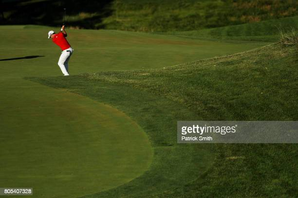 Nick Taylor of Canada plays a shot on the 16th hole during the third round of the Quicken Loans National on July 1, 2017 TPC Potomac in Potomac,...