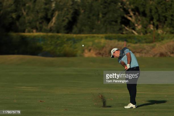 Nick Taylor of Canada plays a shot on the 18th hole during the second round of the Shriners Hospitals for Children Open at TPC Summerlin on October...