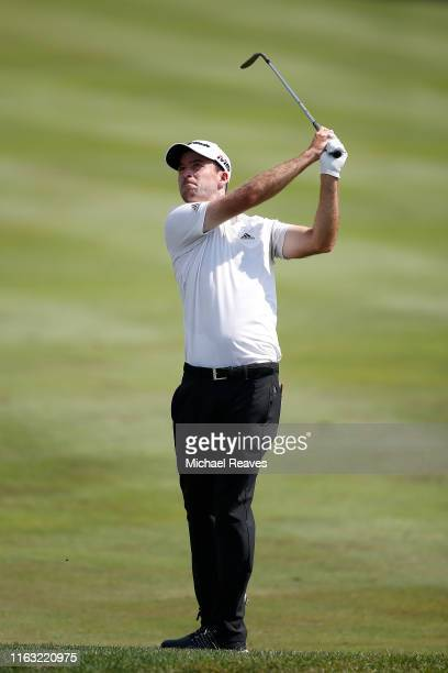 Nick Taylor of Canada plays a shot on the 18th hole during the third round of the Barbasol Championship at Keene Trace Golf Club on July 20 2019 in...