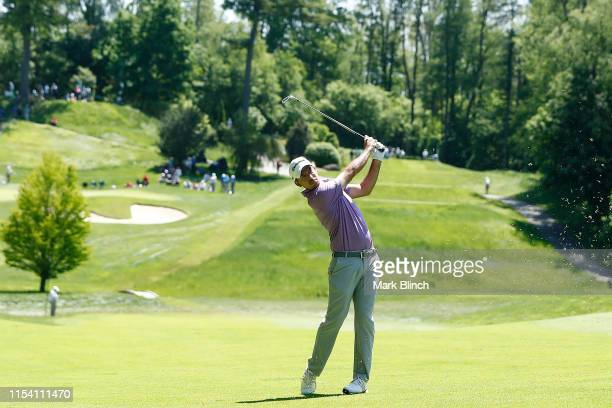 Nick Taylor of Canada plays a shot on the seventh hole during the first round of the RBC Canadian Open at Hamilton Golf and Country Club on June 06...