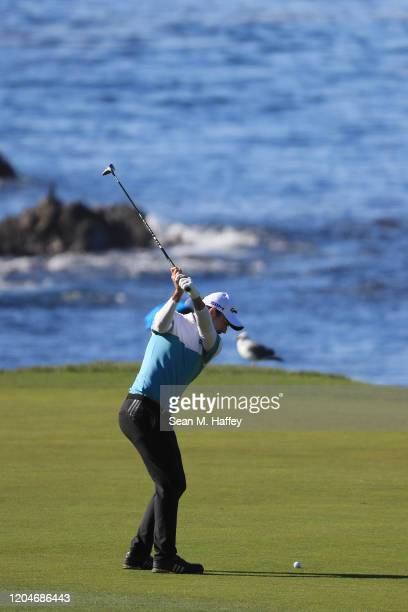 Nick Taylor of Canada plays a shot on the sixth hole during the second round of the ATT Pebble Beach ProAm at Pebble Beach Golf Links on February 07...