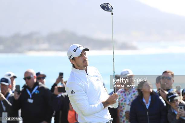 Nick Taylor of Canada plays his shot from the 14th tee during the final round of the ATT Pebble Beach ProAm at Pebble Beach Golf Links on February 09...
