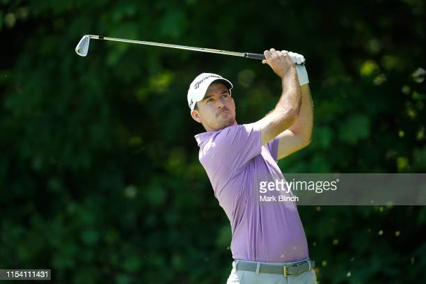 Nick Taylor of Canada plays his shot from the eighth tee during the first round of the RBC Canadian Open at Hamilton Golf and Country Club on June 06...