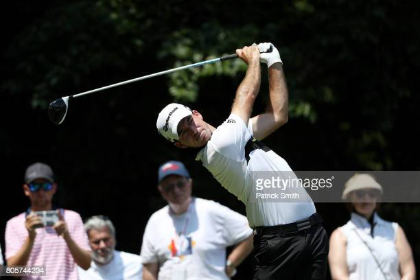 Nick Taylor of Canada plays his shot from the eighth tee during the final round of the Quicken Loans National on July 2 2017 TPC Potomac in Potomac...