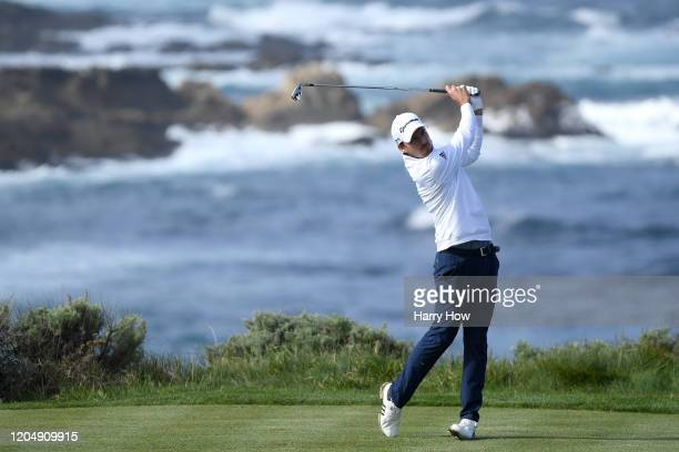 Nick Taylor of Canada plays his shot from the fourth tee during the third round of the ATT Pebble Beach ProAm at Spyglass Hill Golf Course on...