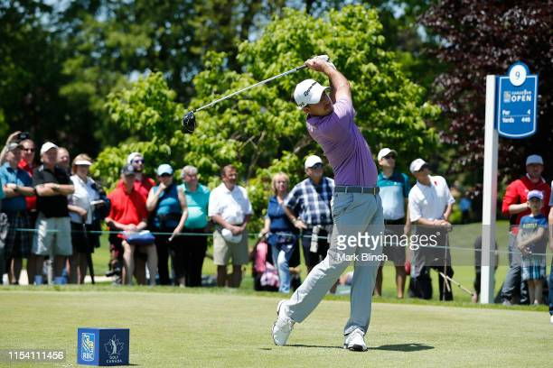 Nick Taylor of Canada plays his shot from the ninth tee during the first round of the RBC Canadian Open at Hamilton Golf and Country Club on June 06...
