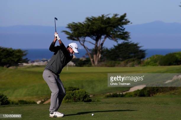 Nick Taylor of Canada plays his shot from the seventh tee during the during the first round of the ATT Pebble Beach ProAm at Monterey Peninsula...