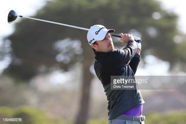 Nick Taylor of Canada plays his shot from the sixth tee during the during the first round of the ATT Pebble Beach ProAm at Monterey Peninsula Country...