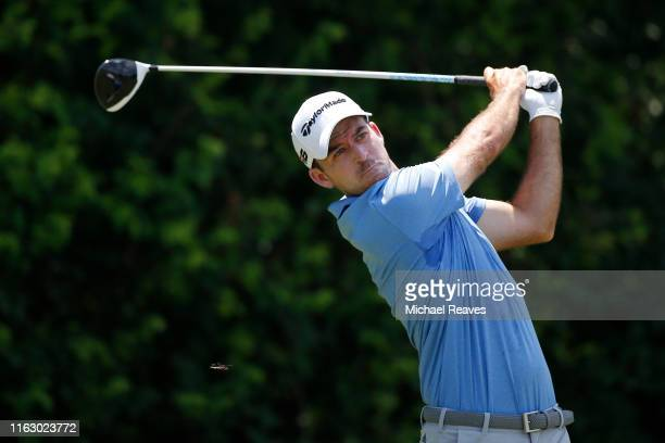 Nick Taylor of Canada plays his shot from the third tee during the second round of the Barbasol Championship at Keene Trace Golf Club on July 19 2019...