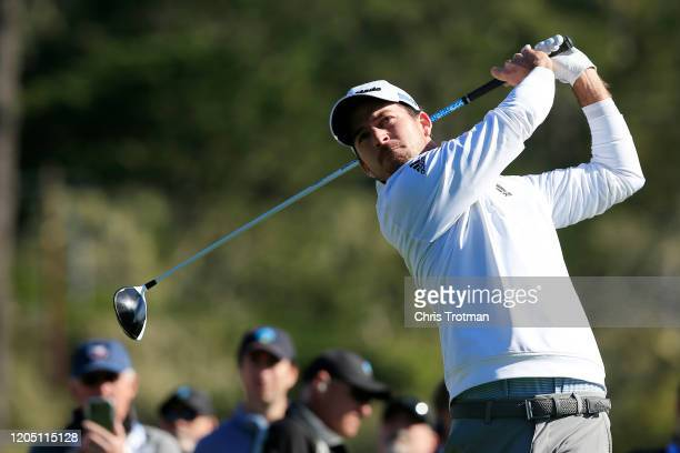 Nick Taylor of Canada plays his shot from the third tee during the final round of the ATT Pebble Beach ProAm at Pebble Beach Golf Links on February...