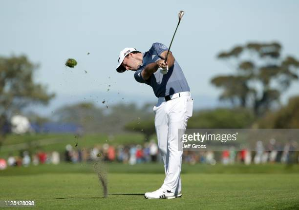 Nick Taylor of Canada plays his shot on the South Course during the final round of the the 2019 Farmers Insurance Open at Torrey Pines Golf Course on...