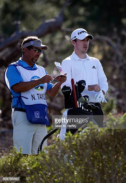 Nick Taylor of Canada prepares to play his tee shot on the third hole during the first round of the ATT Pebble Beach National ProAm at the Spyglass...