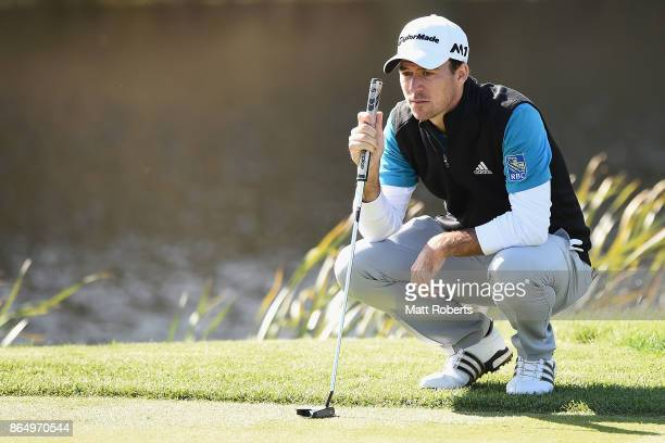 Nick Taylor of Canada prepares to putt on the 5th green during the final round of the CJ Cup at Nine Bridges on October 22 2017 in Jeju South Korea