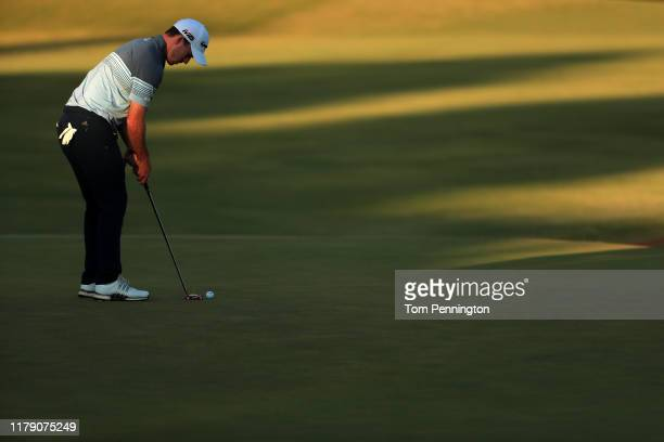 Nick Taylor of Canada putts on the 18th green during the second round of the Shriners Hospitals for Children Open at TPC Summerlin on October 04 2019...