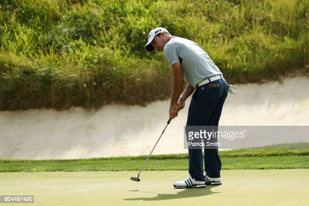 Nick Taylor of Canada putts on the seventh green during the second round of the Quicken Loans National on June 30 2017 TPC Potomac in Potomac Maryland