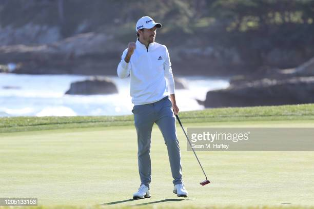 Nick Taylor of Canada reacts on the 18th green after winning the ATT Pebble Beach ProAm at Pebble Beach Golf Links on February 09 2020 in Pebble...