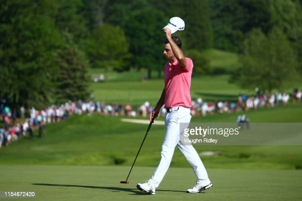 Nick Taylor of Canada reacts on the 18th green during the third round of the RBC Canadian Open at Hamilton Golf and Country Club on June 08 2019 in...