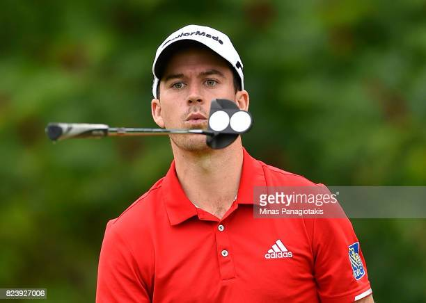 Nick Taylor of Canada reacts to his putt on the 14th hole during the second round of the RBC Canadian Open at Glen Abbey Golf Club on July 28 2017 in...
