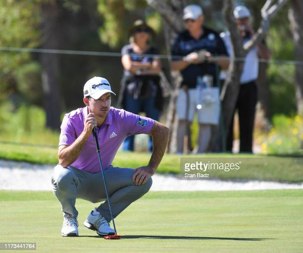 Nick Taylor of Canada studies his putt on the first hole during the first round of the Shriners Hospitals for Children Open at TPC Summerlin on...