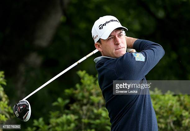 Nick Taylor of Canada tees off on the fifth hole during round one at the Wells Fargo Championship at Quail Hollow Club on May 14 2015 in Charlotte...