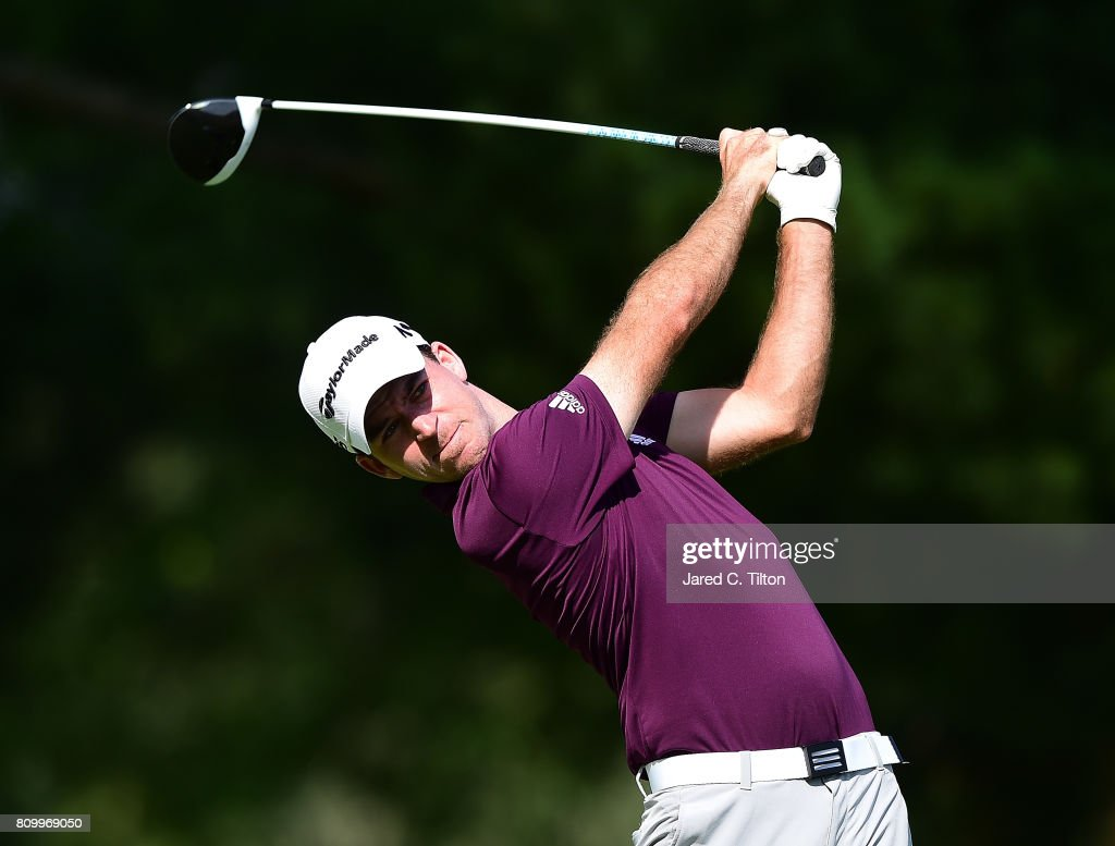 Nick Taylor of Canada tees off the ninth hole during round one of The Greenbrier Classic held at the Old White TPC on July 6, 2017 in White Sulphur Springs, West Virginia.