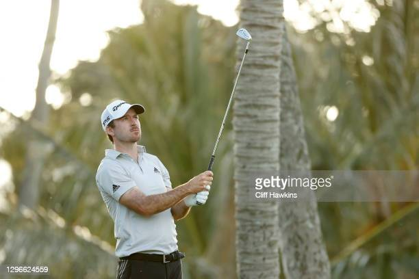 Nick Taylor of Canada watches his shot from the seventh tee during the second round of the Sony Open in Hawaii at the Waialae Country Club on January...