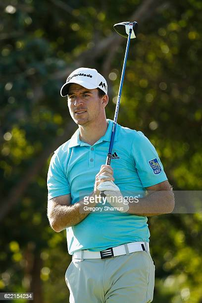 Nick Taylor of Canada watches his shot from the seventh tee during the first round of the OHL Classic at Mayakoba on November 10 2016 in Playa del...