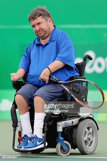 Nick Taylor of the United States plays Antony Cotterill of Great Britain in men's quad singles on day 2 of the Rio 2016 Paralympic Games at on...