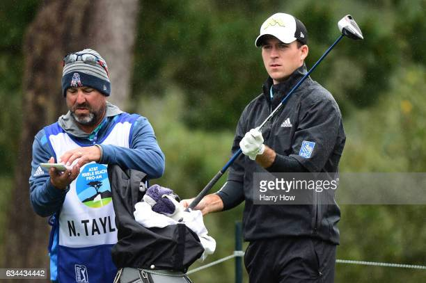 Nick Taylor stands on the 17th tee during Round One of the ATT Pebble Beach ProAm at Spyglass Hill Golf Course on February 9 2017 in Pebble Beach...