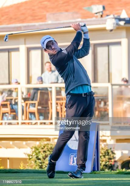 Nick Taylor teeing off from the 1st hole to begin his leading Round 2 of the ATT ProAm tournament on Friday February 07 2020 at the Pebble Beach...