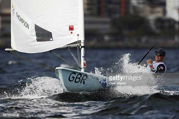 Nick Thompson of Great Britain competes during the Men's Laser Race 1 on Day 3 of the Rio 2016 Olympic Games at Marina da Gloria on August 9 2016 in...