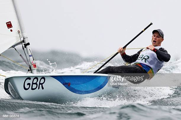 Nick Thompson of Great Britain competes in the Men's Laser class on Day 5 of the Rio 2016 Olympic Games at the Marina da Gloria on August 10 2016 in...