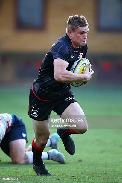 Nick Tompkins of Saracens in action during the pre season friendly match between Saracens and London Scottish FC at Honourable Artillery Company on...