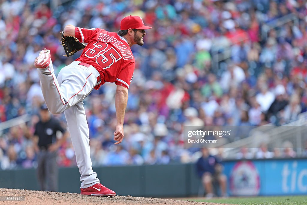 Nick Tropeano #35 of the Los Angeles Angels of Anaheim delivers a pitch in relief in the 7th inning against the Minnesota Twins at Target Field on September 20, 2015 in Minneapolis, The Twins defeated the Angels 8-1. Minnesota.