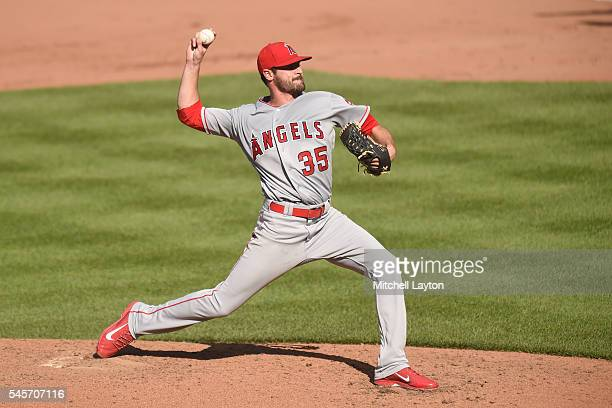 Nick Tropeano of the Los Angeles Angels of Anaheim pitches in the fourth inning during a baseball game against the Baltimore Orioles at Oriole Park...
