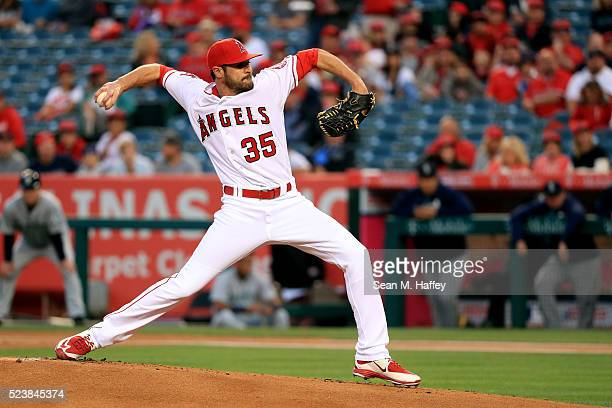 Nick Tropeano of the the Los Angeles Angels of Anaheim pitches during the first inning of a baseball game between the Los Angeles Angels of Anaheim...