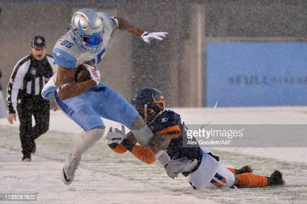 Nick Truesdell of Salt Lake Stallions is tackled out of bounds during their Alliance of American Football game against the Orlando Apollos at Rice...
