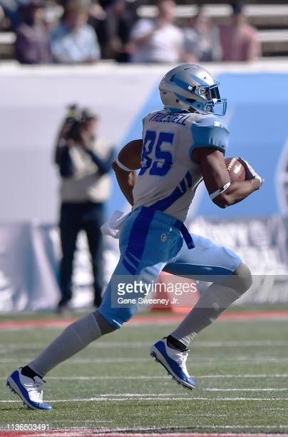 Nick Truesdell of the Salt Lake Stallions runs with the ball during an Alliance of American Football game against the Memphis Express at RiceEccles...