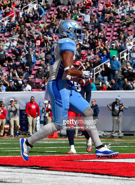 Nick Truesdell of the Salt Lake Stallions scores a touchdown against the the Memphis Express in the first quarter at Rice Eccles Stadium on March 16...