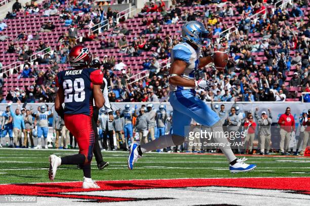 Nick Truesdell of the Salt Lake Stallions scores a touchdown against the the Memphis Express in the first quarter at Rice Eccles Stadium on March 16,...