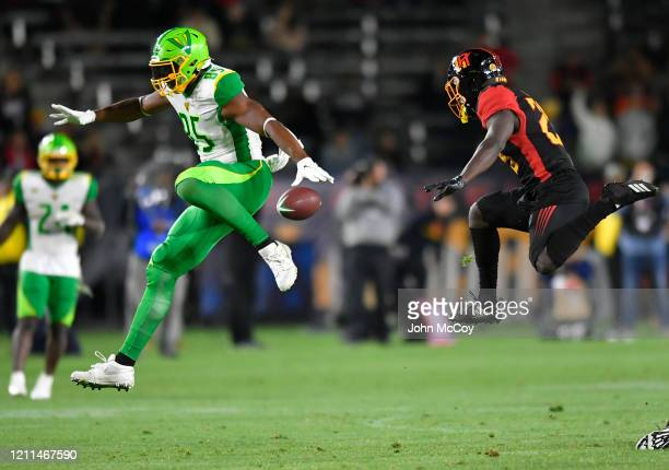 Nick Truesdell of the Tampa Bay Vipers and Larry Rose Larry of the LA Wildcats are up in the air during an incomplete pass at Dignity Health Sports...